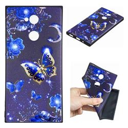 Phnom Penh Butterfly 3D Embossed Relief Black TPU Cell Phone Back Cover for Sony Xperia XA2 Ultra(6.0 inch)