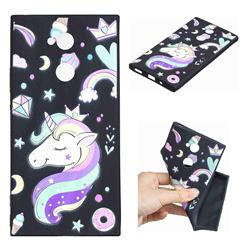 Candy Unicorn 3D Embossed Relief Black TPU Cell Phone Back Cover for Sony Xperia XA2 Ultra(6.0 inch)
