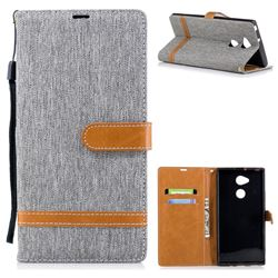 Jeans Cowboy Denim Leather Wallet Case for Sony Xperia XA2 Ultra(6.0 inch) - Gray