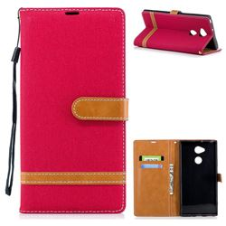 Jeans Cowboy Denim Leather Wallet Case for Sony Xperia XA2 Ultra(6.0 inch) - Red