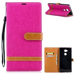 Jeans Cowboy Denim Leather Wallet Case for Sony Xperia XA2 Ultra(6.0 inch) - Rose