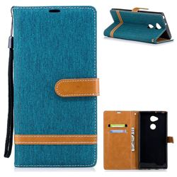 Jeans Cowboy Denim Leather Wallet Case for Sony Xperia XA2 Ultra(6.0 inch) - Green