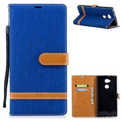 Jeans Cowboy Denim Leather Wallet Case for Sony Xperia XA2 Ultra(6.0 inch) - Sapphire