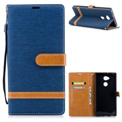 Jeans Cowboy Denim Leather Wallet Case for Sony Xperia XA2 Ultra(6.0 inch) - Dark Blue