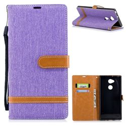 Jeans Cowboy Denim Leather Wallet Case for Sony Xperia XA2 Ultra(6.0 inch) - Purple