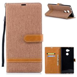 Jeans Cowboy Denim Leather Wallet Case for Sony Xperia XA2 Ultra(6.0 inch) - Brown