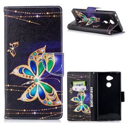 Golden Shining Butterfly Leather Wallet Case for Sony Xperia XA2 Ultra(6.0 inch)