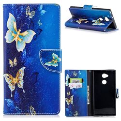 Golden Butterflies Leather Wallet Case for Sony Xperia XA2 Ultra(6.0 inch)