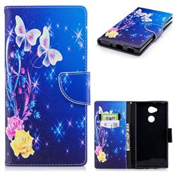 Yellow Flower Butterfly Leather Wallet Case for Sony Xperia XA2 Ultra(6.0 inch)