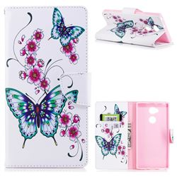 Peach Butterflies Leather Wallet Case for Sony Xperia XA2 Ultra(6.0 inch)
