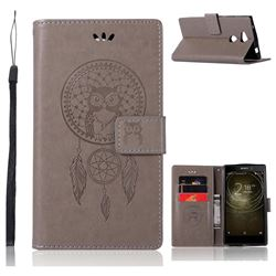 Intricate Embossing Owl Campanula Leather Wallet Case for Sony Xperia XA2 Ultra(6.0 inch) - Grey