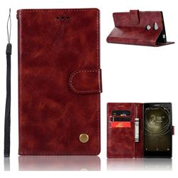 Luxury Retro Leather Wallet Case for Sony Xperia XA2 Ultra(6.0 inch) - Wine Red
