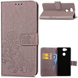Embossing Imprint Four-Leaf Clover Leather Wallet Case for Sony Xperia XA2 Ultra(6.0 inch) - Grey