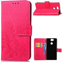 Embossing Imprint Four-Leaf Clover Leather Wallet Case for Sony Xperia XA2 Ultra(6.0 inch) - Rose