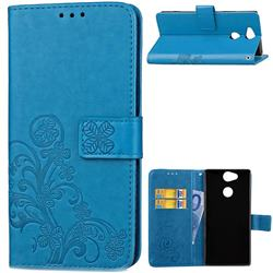 Embossing Imprint Four-Leaf Clover Leather Wallet Case for Sony Xperia XA2 Ultra(6.0 inch) - Blue