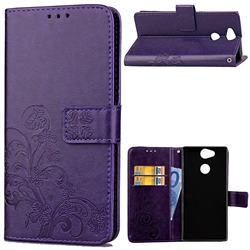 Embossing Imprint Four-Leaf Clover Leather Wallet Case for Sony Xperia XA2 Ultra(6.0 inch) - Purple