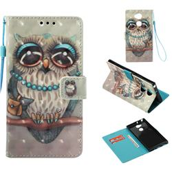 Sweet Gray Owl 3D Painted Leather Wallet Case for Sony Xperia XA2 Ultra(6.0 inch)