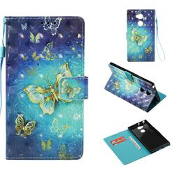 Gold Butterfly 3D Painted Leather Wallet Case for Sony Xperia XA2 Ultra(6.0 inch)
