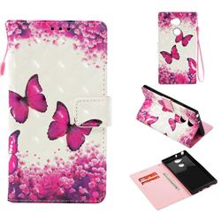 Rose Butterfly 3D Painted Leather Wallet Case for Sony Xperia XA2 Ultra(6.0 inch)