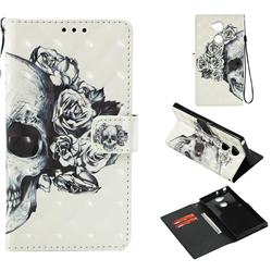 Skull Flower 3D Painted Leather Wallet Case for Sony Xperia XA2 Ultra(6.0 inch)