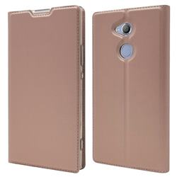 Ultra Slim Card Magnetic Automatic Suction Leather Wallet Case for Sony Xperia XA2 Ultra(6.0 inch) - Rose Gold