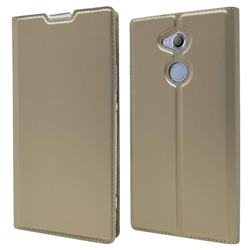 Ultra Slim Card Magnetic Automatic Suction Leather Wallet Case for Sony Xperia XA2 Ultra(6.0 inch) - Champagne