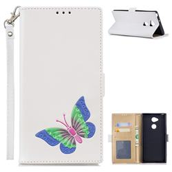 Imprint Embossing Butterfly Leather Wallet Case for Sony Xperia XA2 Ultra(6.0 inch) - White