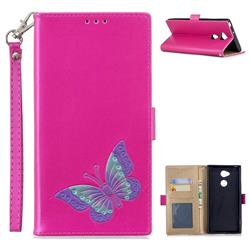 Imprint Embossing Butterfly Leather Wallet Case for Sony Xperia XA2 Ultra(6.0 inch) - Rose Red