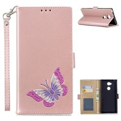 Imprint Embossing Butterfly Leather Wallet Case for Sony Xperia XA2 Ultra(6.0 inch) - Rose Gold