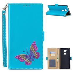 Imprint Embossing Butterfly Leather Wallet Case for Sony Xperia XA2 Ultra(6.0 inch) - Sky Blue