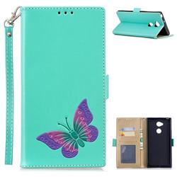 Imprint Embossing Butterfly Leather Wallet Case for Sony Xperia XA2 Ultra(6.0 inch) - Mint Green