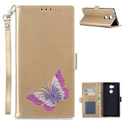 Imprint Embossing Butterfly Leather Wallet Case for Sony Xperia XA2 Ultra(6.0 inch) - Golden