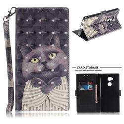 Cat Embrace 3D Painted Leather Wallet Phone Case for Sony Xperia XA2 Ultra(6.0 inch)