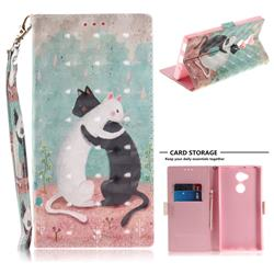 Black and White Cat 3D Painted Leather Wallet Phone Case for Sony Xperia XA2 Ultra(6.0 inch)