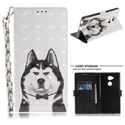 Husky Dog 3D Painted Leather Wallet Phone Case for Sony Xperia XA2 Ultra(6.0 inch)