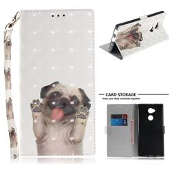 Pug Dog 3D Painted Leather Wallet Phone Case for Sony Xperia XA2 Ultra(6.0 inch)