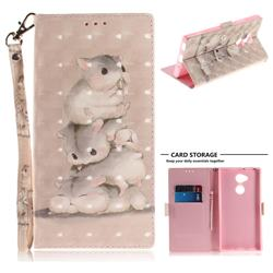Three Squirrels 3D Painted Leather Wallet Phone Case for Sony Xperia XA2 Ultra(6.0 inch)