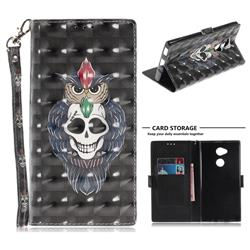 Skull Cat 3D Painted Leather Wallet Phone Case for Sony Xperia XA2 Ultra(6.0 inch)