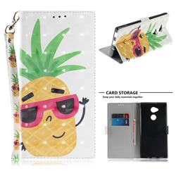 Pineapple Glasses 3D Painted Leather Wallet Phone Case for Sony Xperia XA2 Ultra(6.0 inch)
