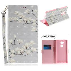 Magnolia Flower 3D Painted Leather Wallet Phone Case for Sony Xperia XA2 Ultra(6.0 inch)