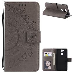 Intricate Embossing Datura Leather Wallet Case for Sony Xperia XA2 Ultra(6.0 inch) - Gray