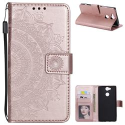 Intricate Embossing Datura Leather Wallet Case for Sony Xperia XA2 Ultra(6.0 inch) - Rose Gold
