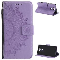 Intricate Embossing Datura Leather Wallet Case for Sony Xperia XA2 Ultra(6.0 inch) - Purple