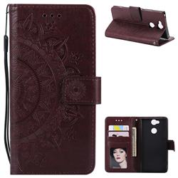Intricate Embossing Datura Leather Wallet Case for Sony Xperia XA2 Ultra(6.0 inch) - Brown