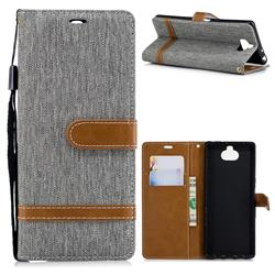 Jeans Cowboy Denim Leather Wallet Case for Sony Xperia XA3 - Gray