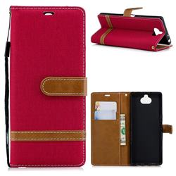 Jeans Cowboy Denim Leather Wallet Case for Sony Xperia XA3 - Red