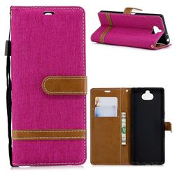 Jeans Cowboy Denim Leather Wallet Case for Sony Xperia XA3 - Rose