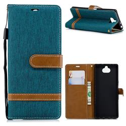 Jeans Cowboy Denim Leather Wallet Case for Sony Xperia XA3 - Green