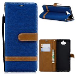 Jeans Cowboy Denim Leather Wallet Case for Sony Xperia XA3 - Sapphire