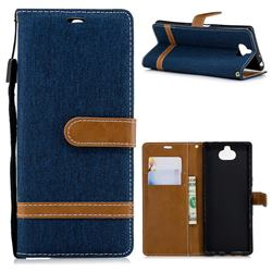 Jeans Cowboy Denim Leather Wallet Case for Sony Xperia XA3 - Dark Blue